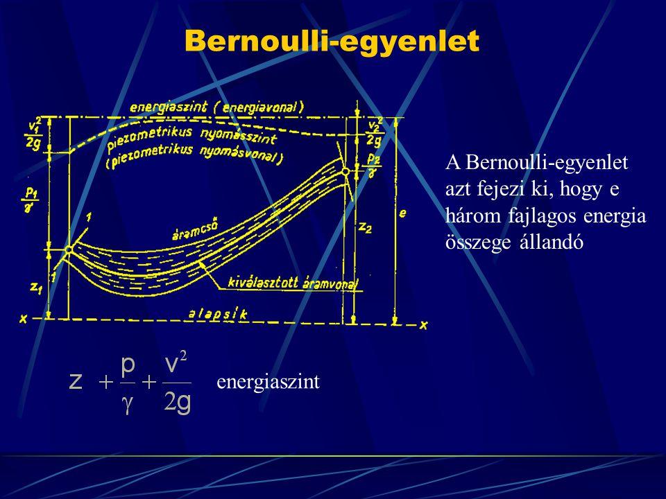 Bernoulli-egyenlet A Bernoulli-egyenlet azt fejezi ki, hogy e
