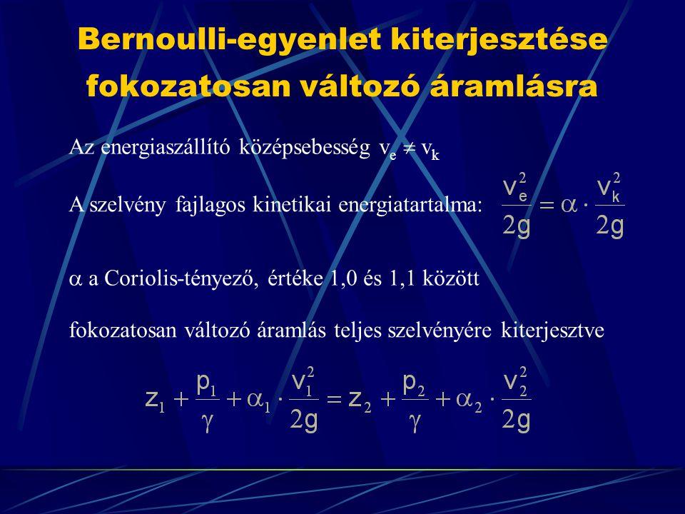 Bernoulli-egyenlet kiterjesztése fokozatosan változó áramlásra