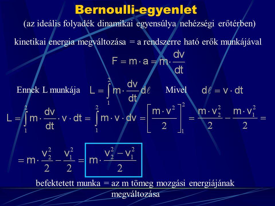 Bernoulli-egyenlet (az ideális folyadék dinamikai egyensúlya nehézségi erőtérben) kinetikai energia megváltozása = a rendszerre ható erők munkájával.