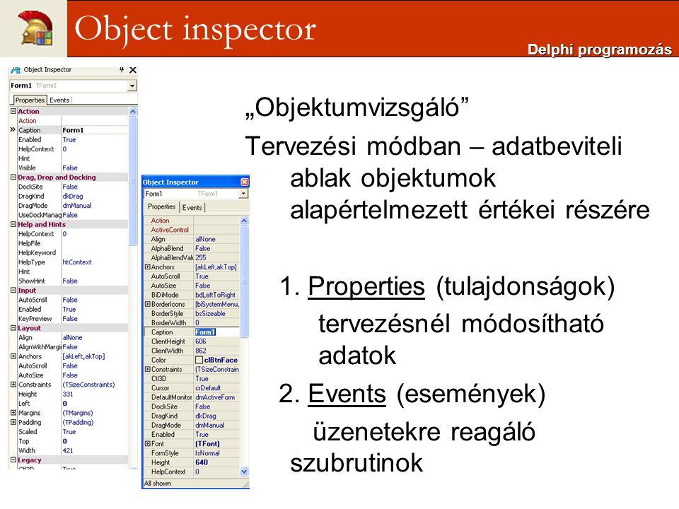 """Object inspector """"Objektumvizsgáló"""