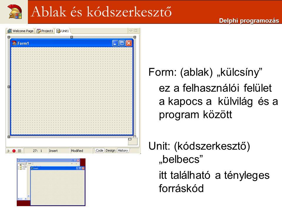 Ablak és kódszerkesztő