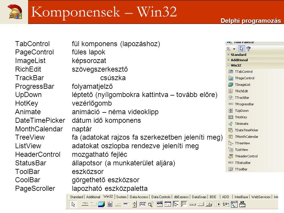 Komponensek – Win32 TabControl fül komponens (lapozáshoz)