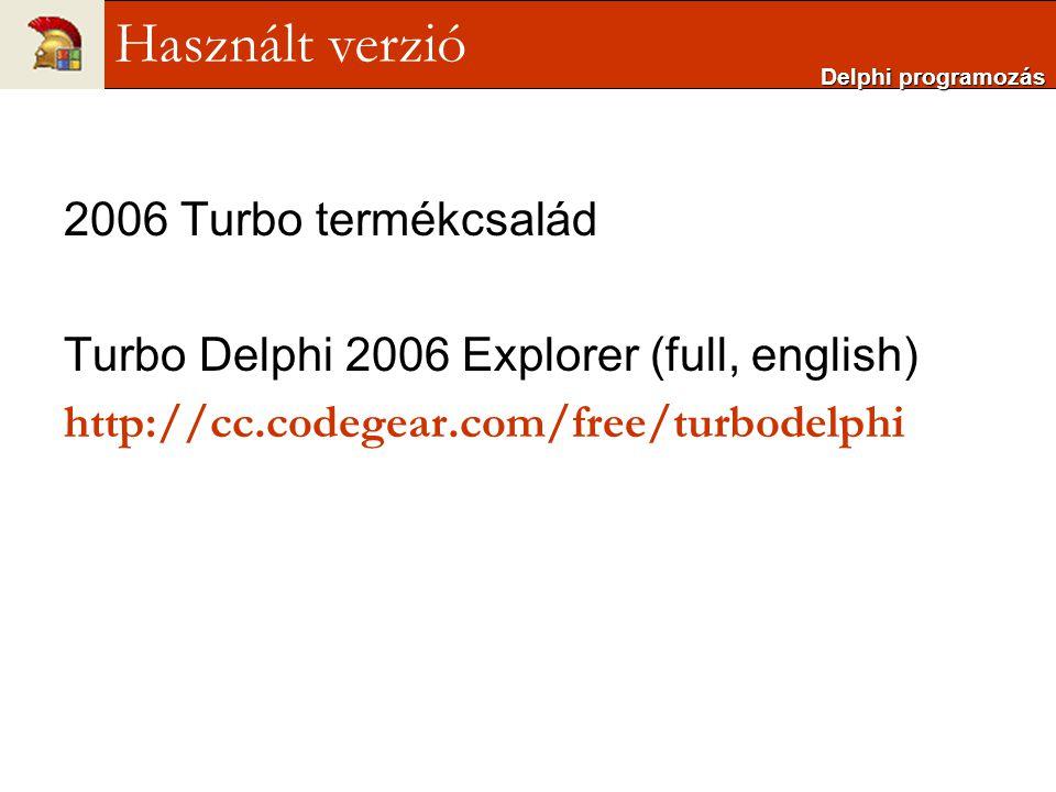 Használt verzió 2006 Turbo termékcsalád