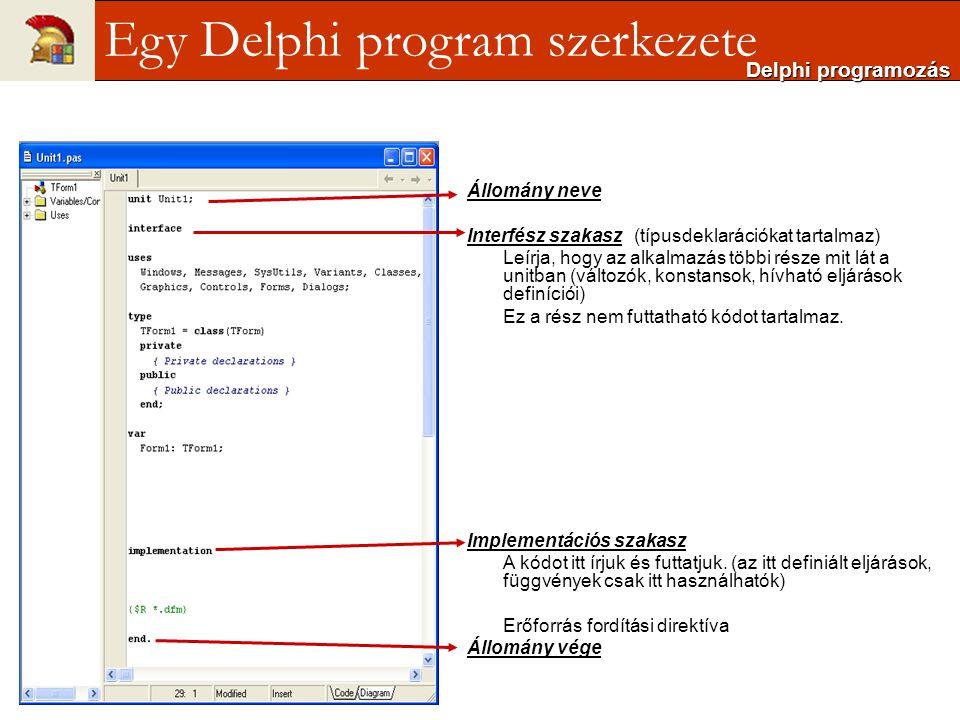 Egy Delphi program szerkezete