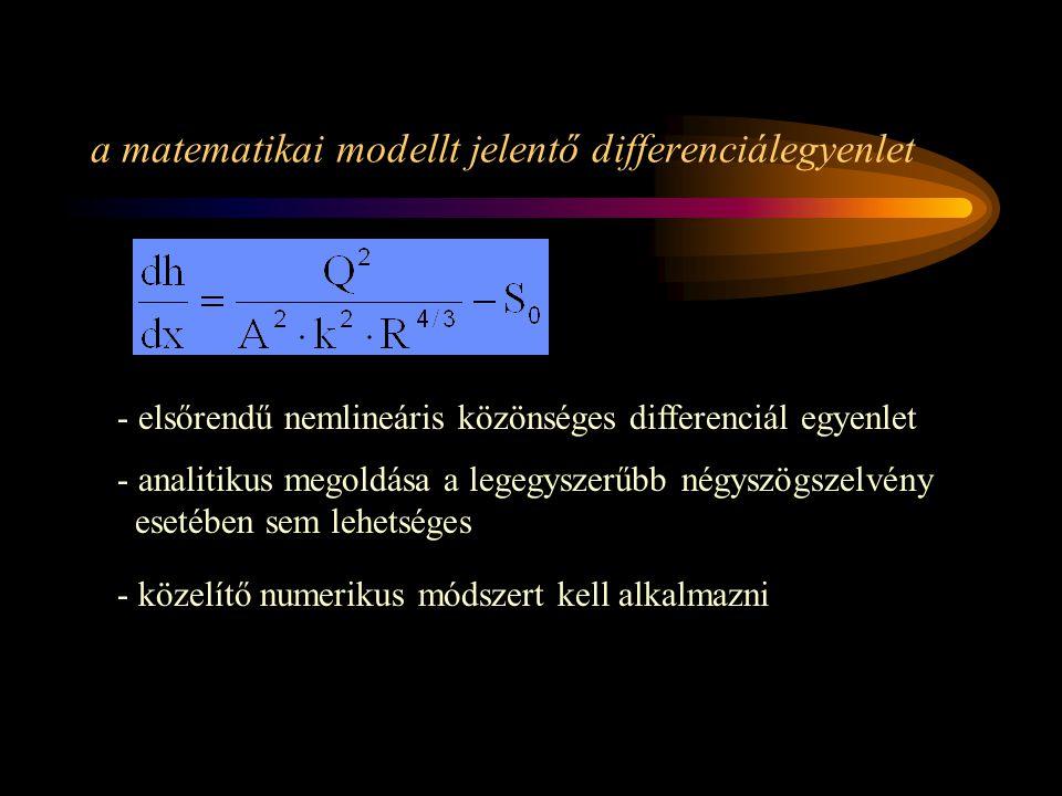 a matematikai modellt jelentő differenciálegyenlet