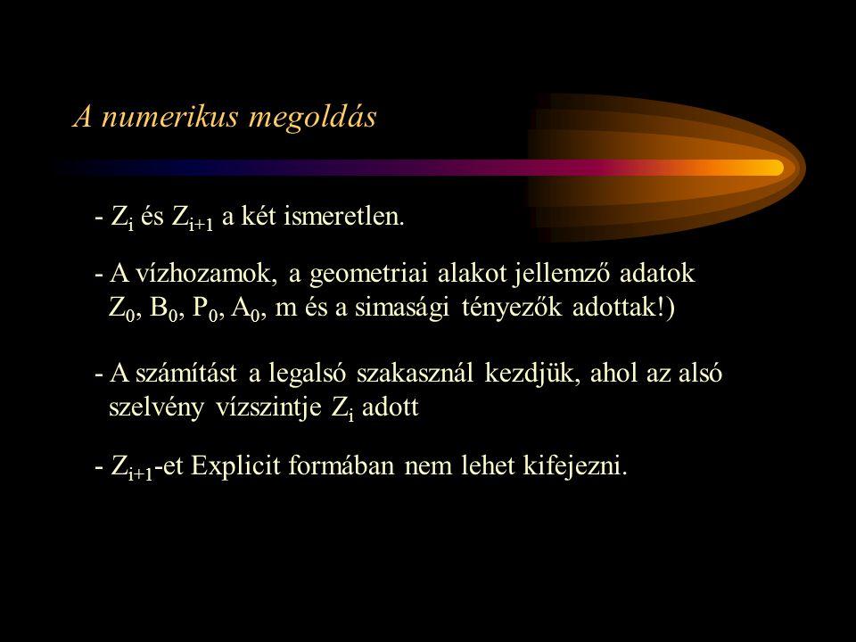 A numerikus megoldás - Zi és Zi+1 a két ismeretlen.