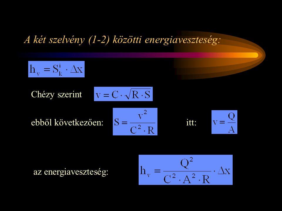 A két szelvény (1-2) közötti energiaveszteség: