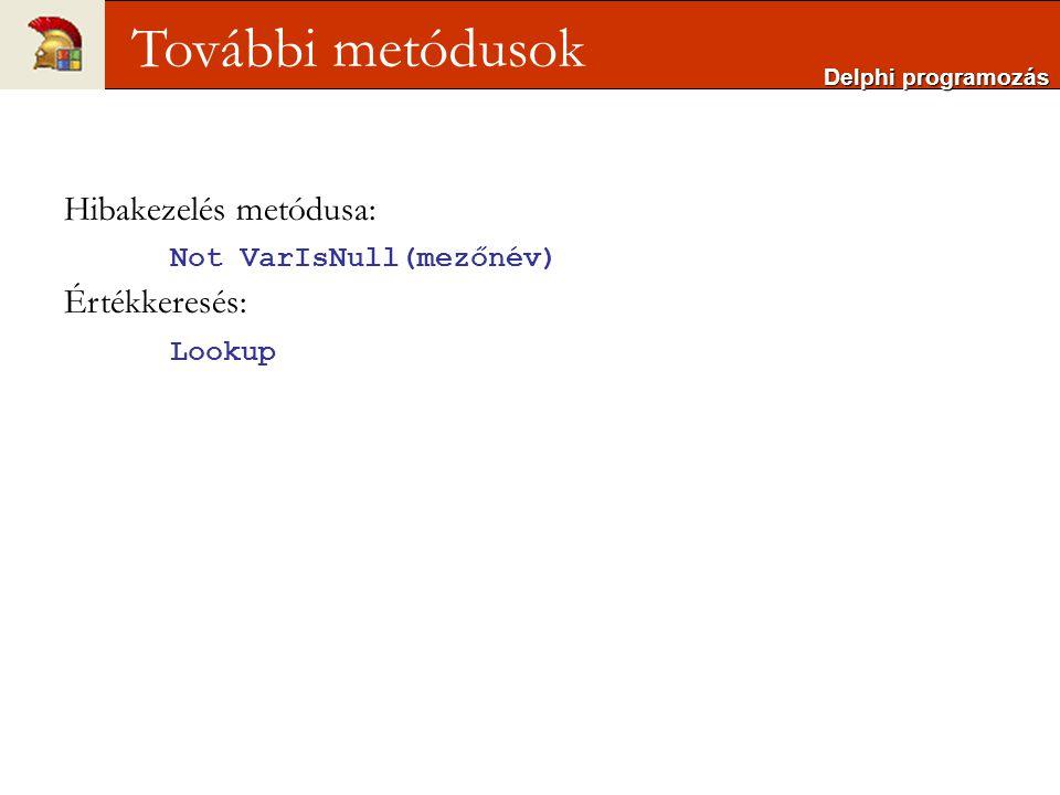 További metódusok Hibakezelés metódusa: Not VarIsNull(mezőnév)