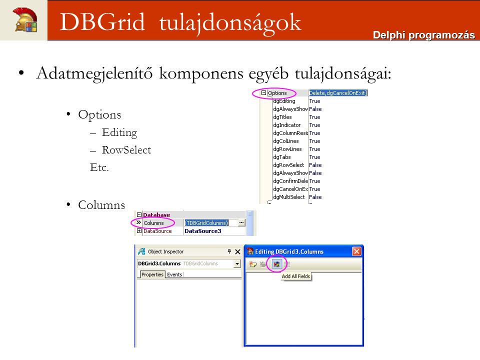 DBGrid tulajdonságok Adatmegjelenítő komponens egyéb tulajdonságai: