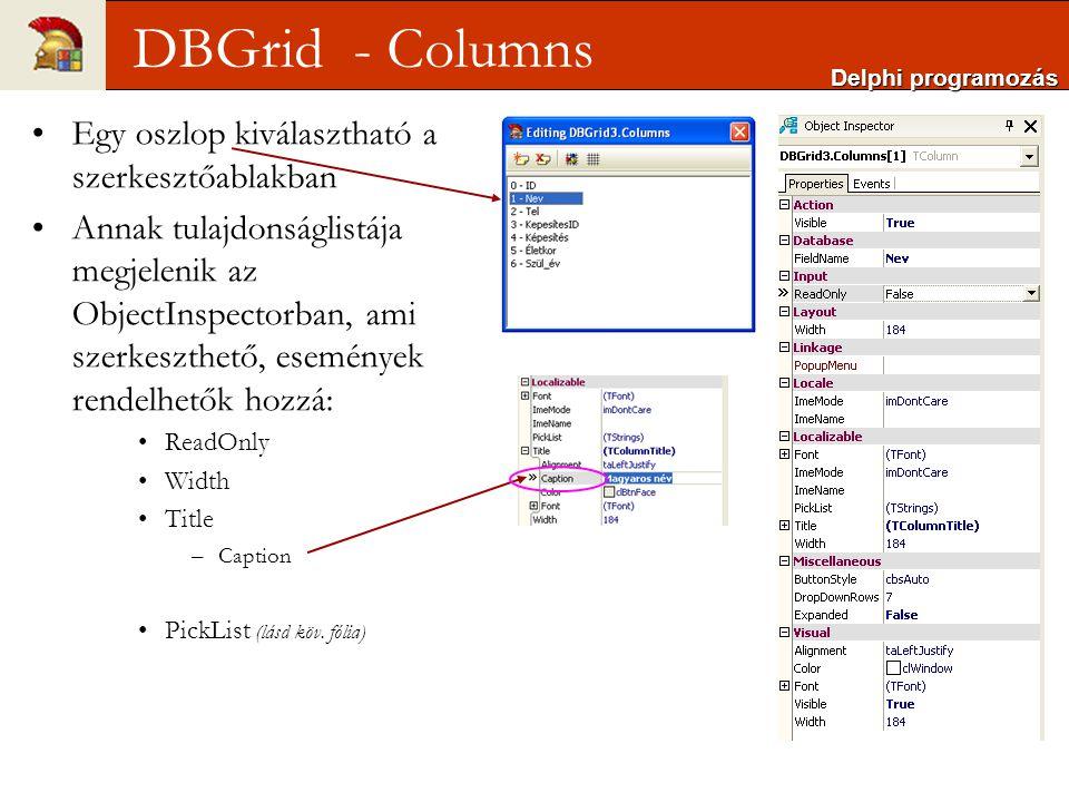 DBGrid - Columns Egy oszlop kiválasztható a szerkesztőablakban