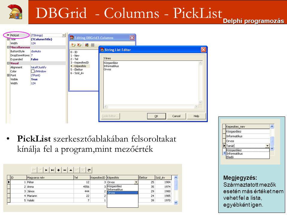 DBGrid - Columns - PickList