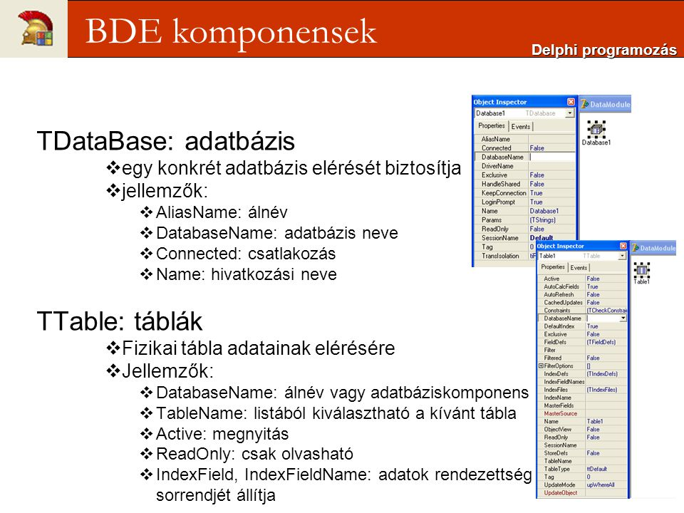 BDE komponensek TDataBase: adatbázis TTable: táblák
