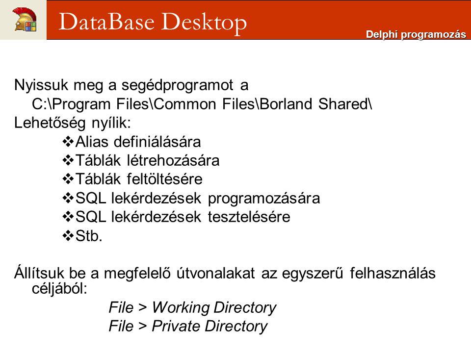 DataBase Desktop Nyissuk meg a segédprogramot a