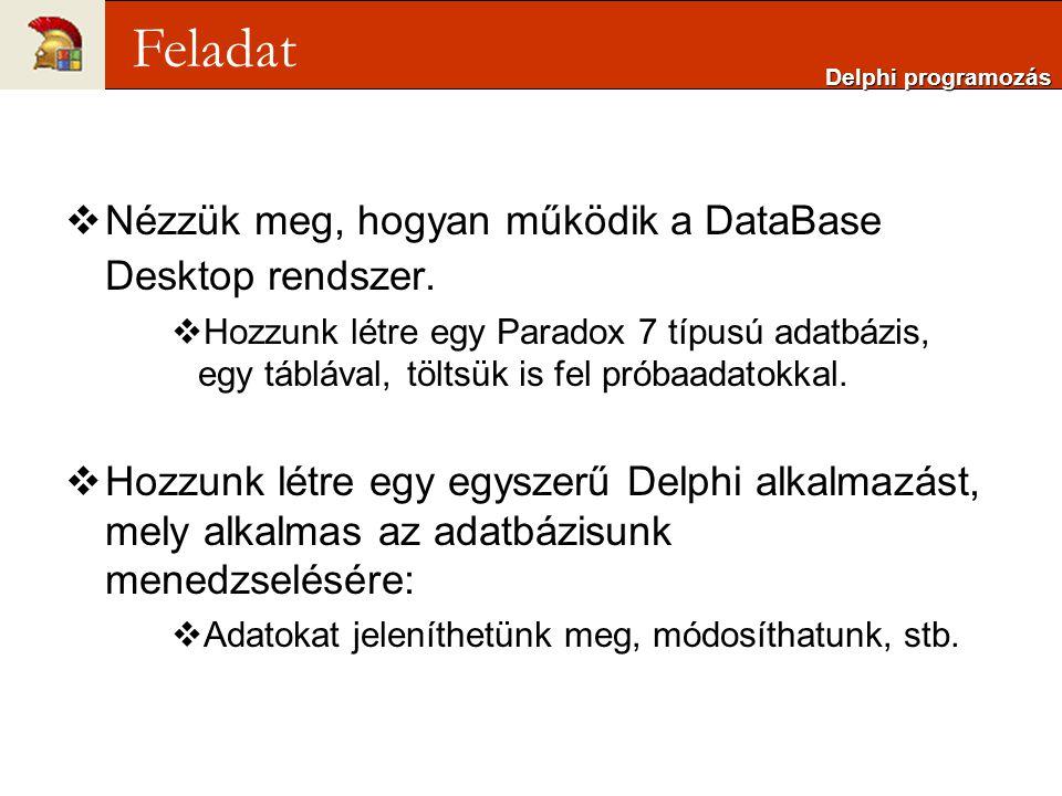 Feladat Nézzük meg, hogyan működik a DataBase Desktop rendszer.