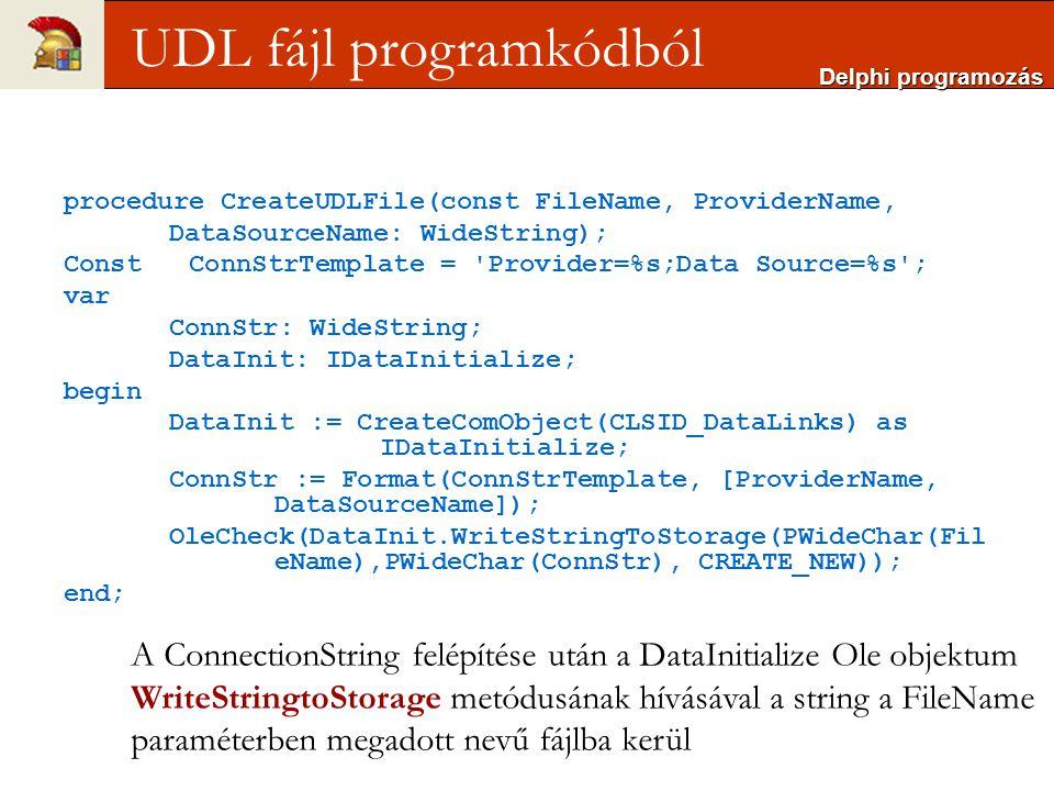 UDL fájl programkódból