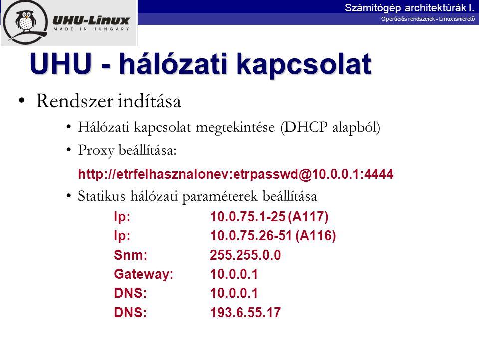 UHU - hálózati kapcsolat