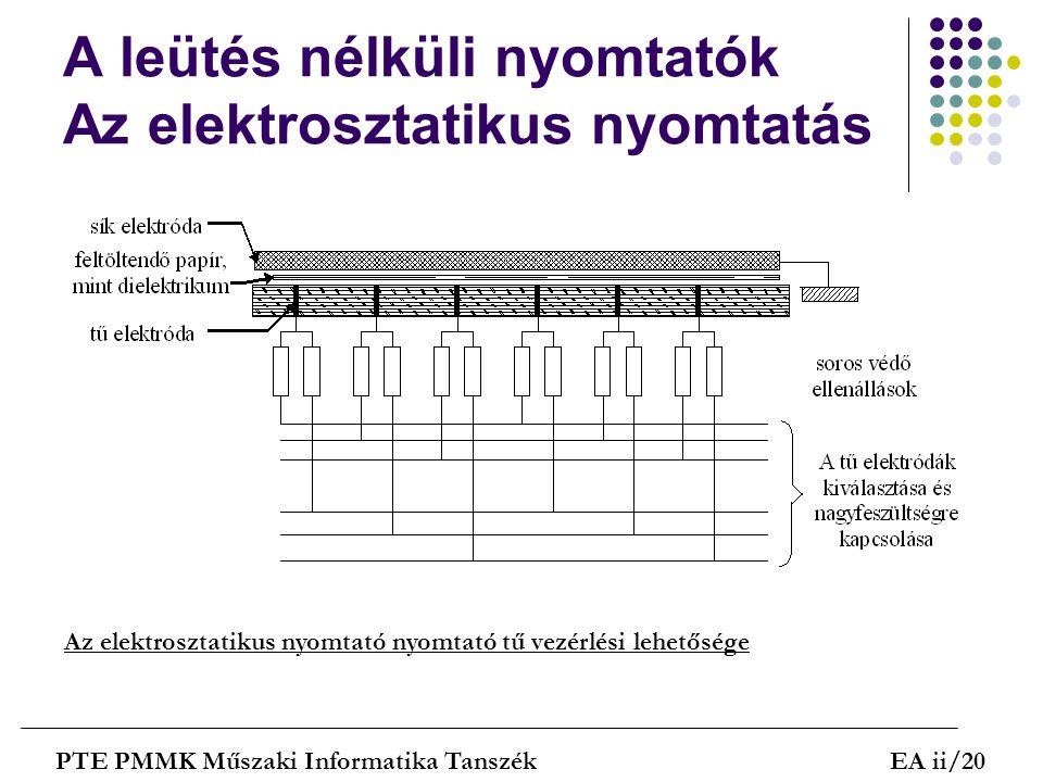 A leütés nélküli nyomtatók Az elektrosztatikus nyomtatás