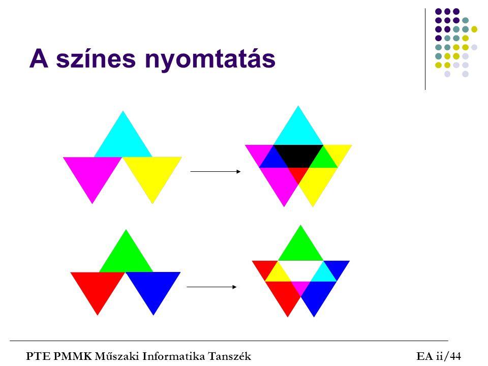 A színes nyomtatás PTE PMMK Műszaki Informatika Tanszék EA ii/44