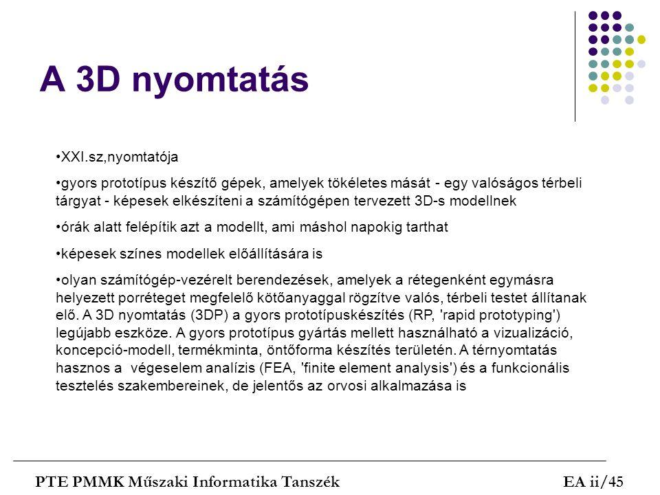 A 3D nyomtatás PTE PMMK Műszaki Informatika Tanszék EA ii/45