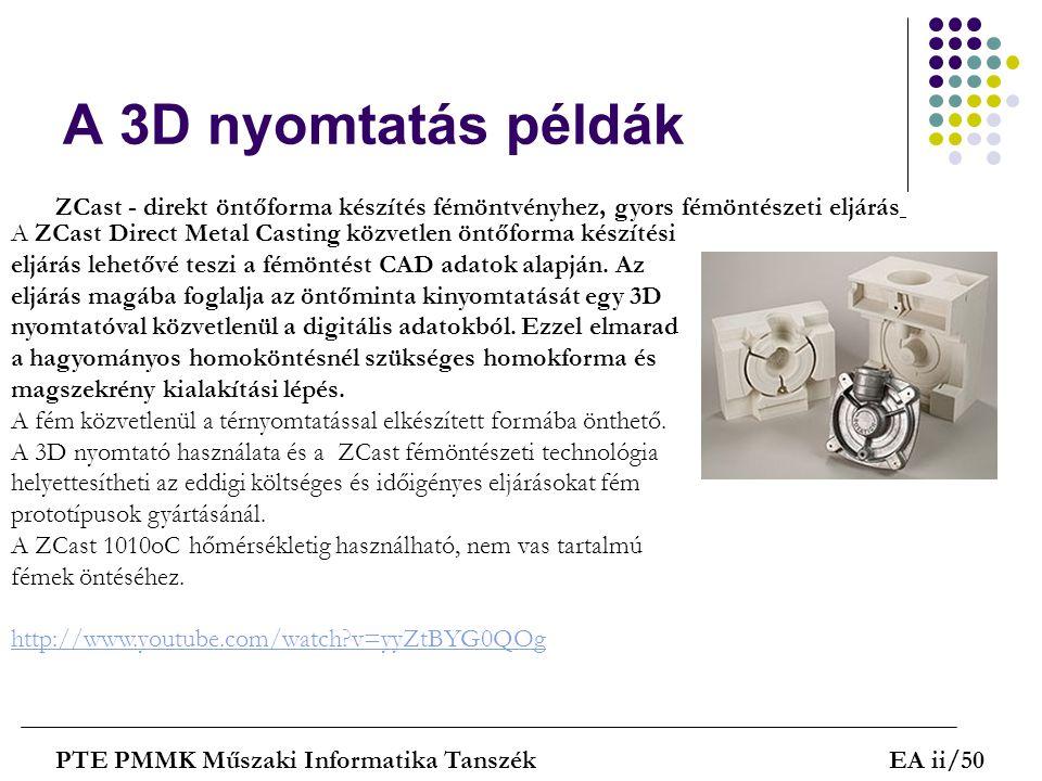 A 3D nyomtatás példák ZCast - direkt öntőforma készítés fémöntvényhez, gyors fémöntészeti eljárás.