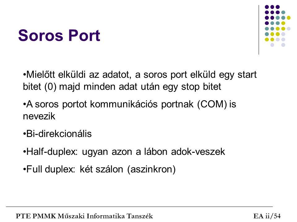 Soros Port Mielőtt elküldi az adatot, a soros port elküld egy start bitet (0) majd minden adat után egy stop bitet.