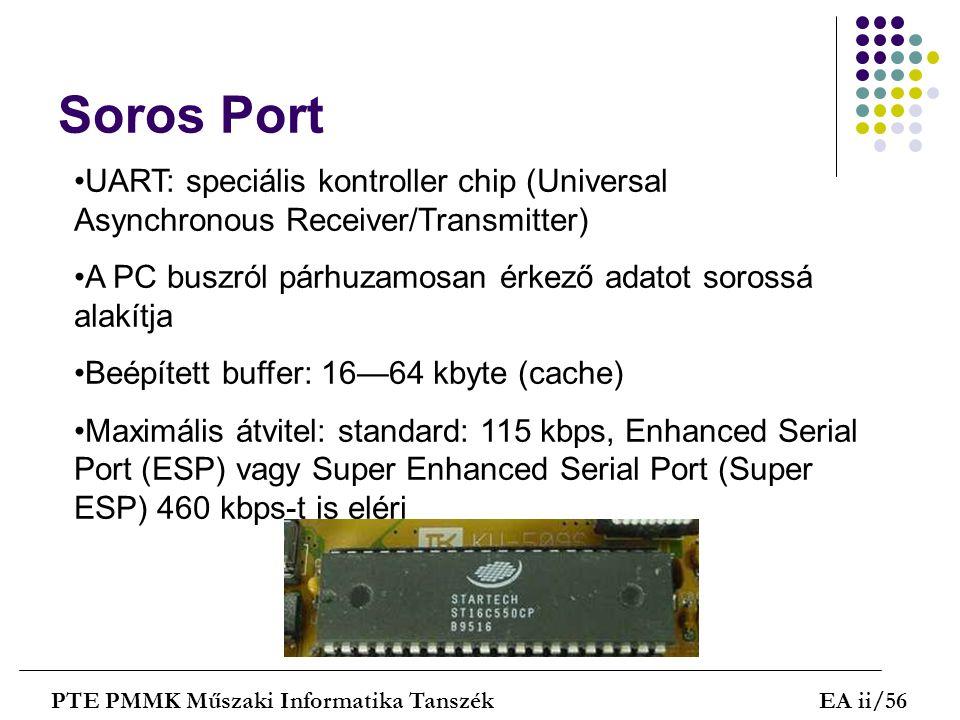Soros Port UART: speciális kontroller chip (Universal Asynchronous Receiver/Transmitter) A PC buszról párhuzamosan érkező adatot sorossá alakítja.