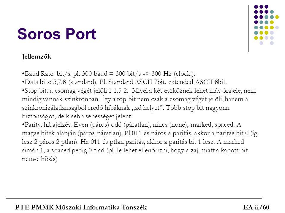 Soros Port Jellemzők. Baud Rate: bit/s. pl: 300 baud = 300 bit/s -> 300 Hz (clock!).