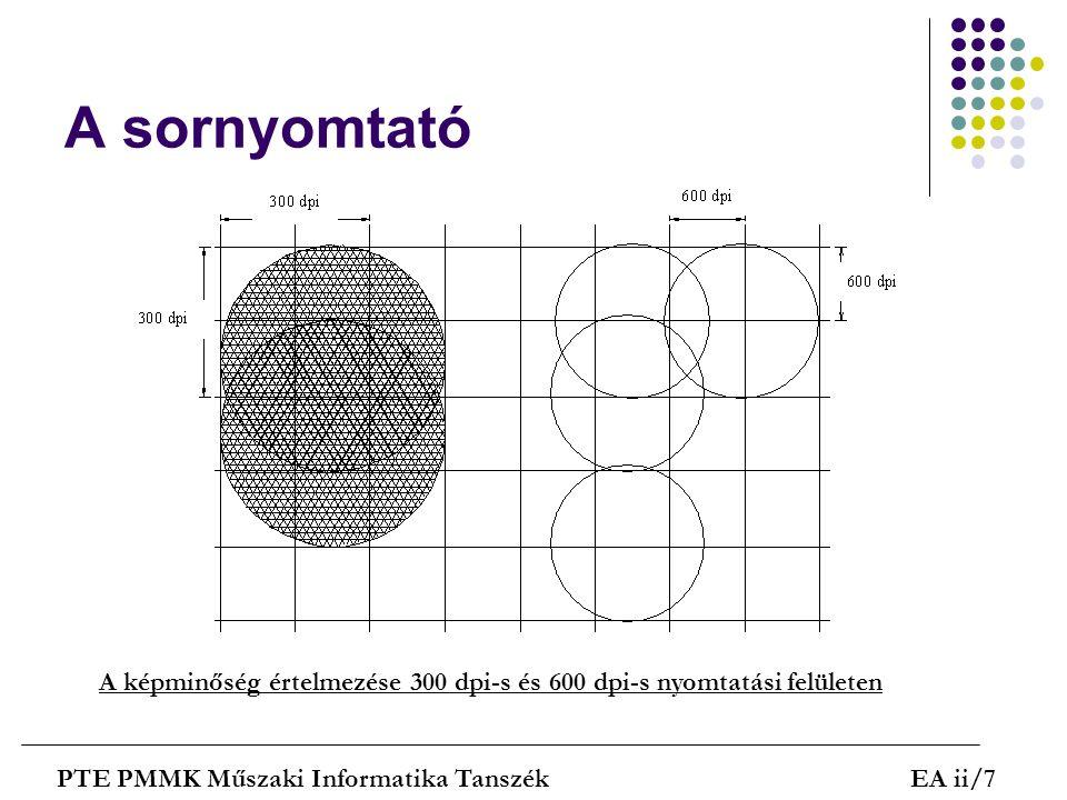 A sornyomtató A képminőség értelmezése 300 dpi-s és 600 dpi-s nyomtatási felületen.