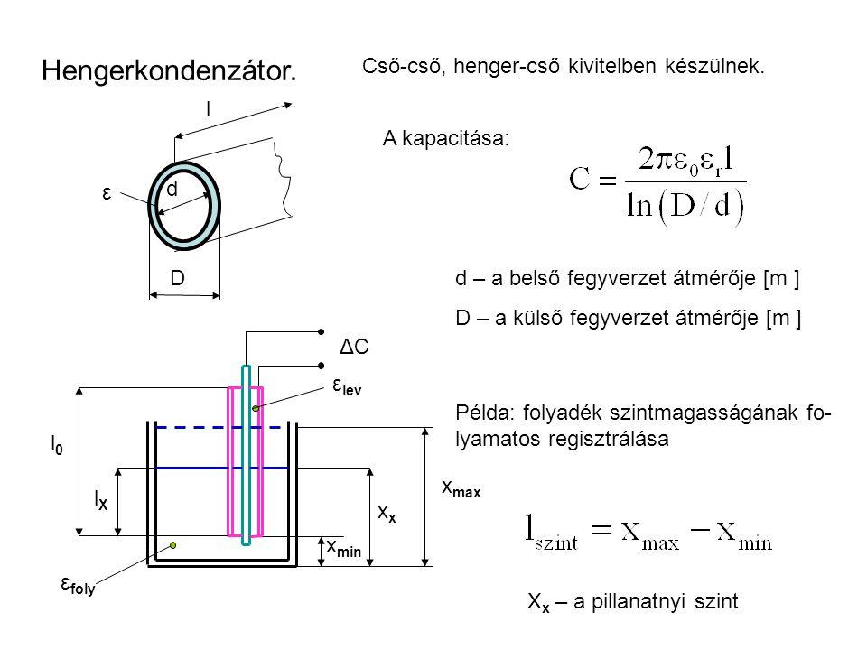 Hengerkondenzátor. Cső-cső, henger-cső kivitelben készülnek. l