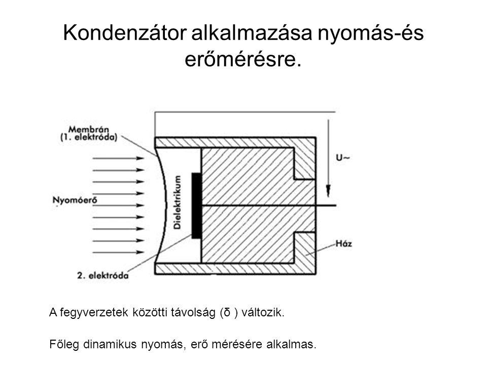 Kondenzátor alkalmazása nyomás-és erőmérésre.