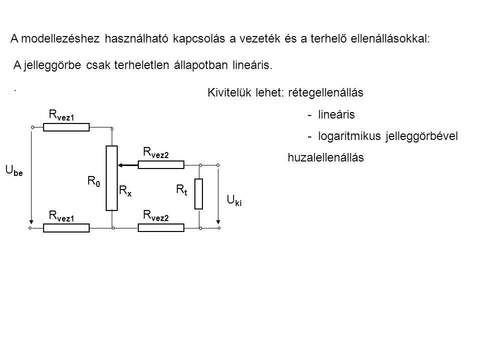 A modellezéshez használható kapcsolás a vezeték és a terhelő ellenállásokkal: