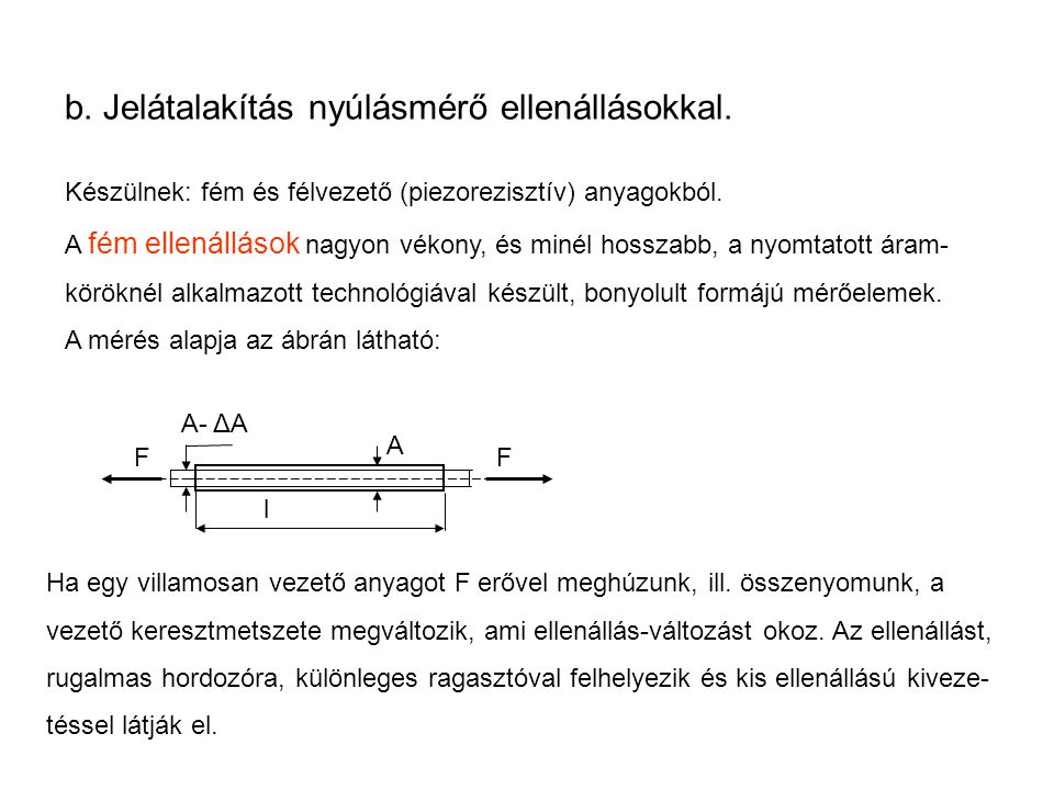 b. Jelátalakítás nyúlásmérő ellenállásokkal.