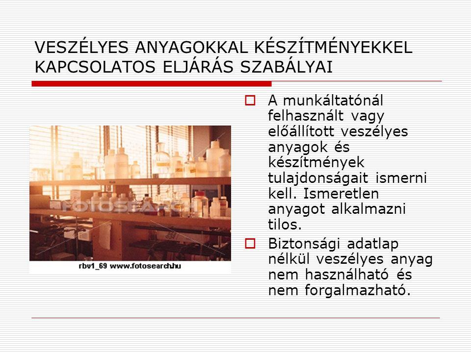 VESZÉLYES ANYAGOKKAL KÉSZÍTMÉNYEKKEL KAPCSOLATOS ELJÁRÁS SZABÁLYAI