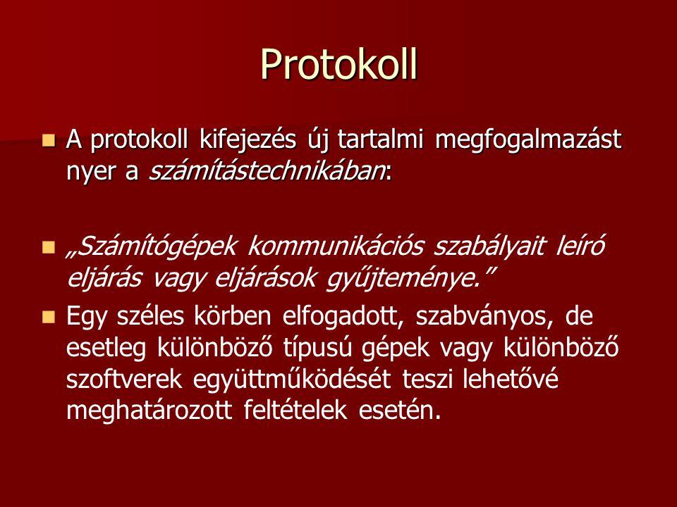 Protokoll A protokoll kifejezés új tartalmi megfogalmazást nyer a számítástechnikában: