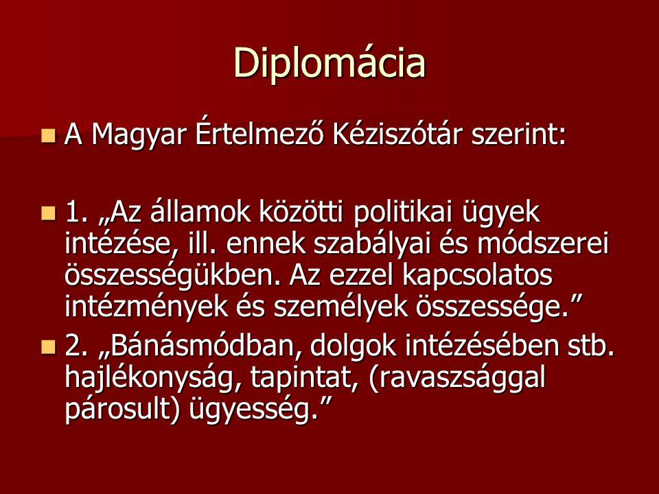 Diplomácia A Magyar Értelmező Kéziszótár szerint: