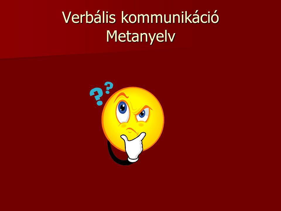 Verbális kommunikáció Metanyelv