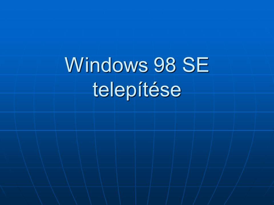Windows 98 SE telepítése