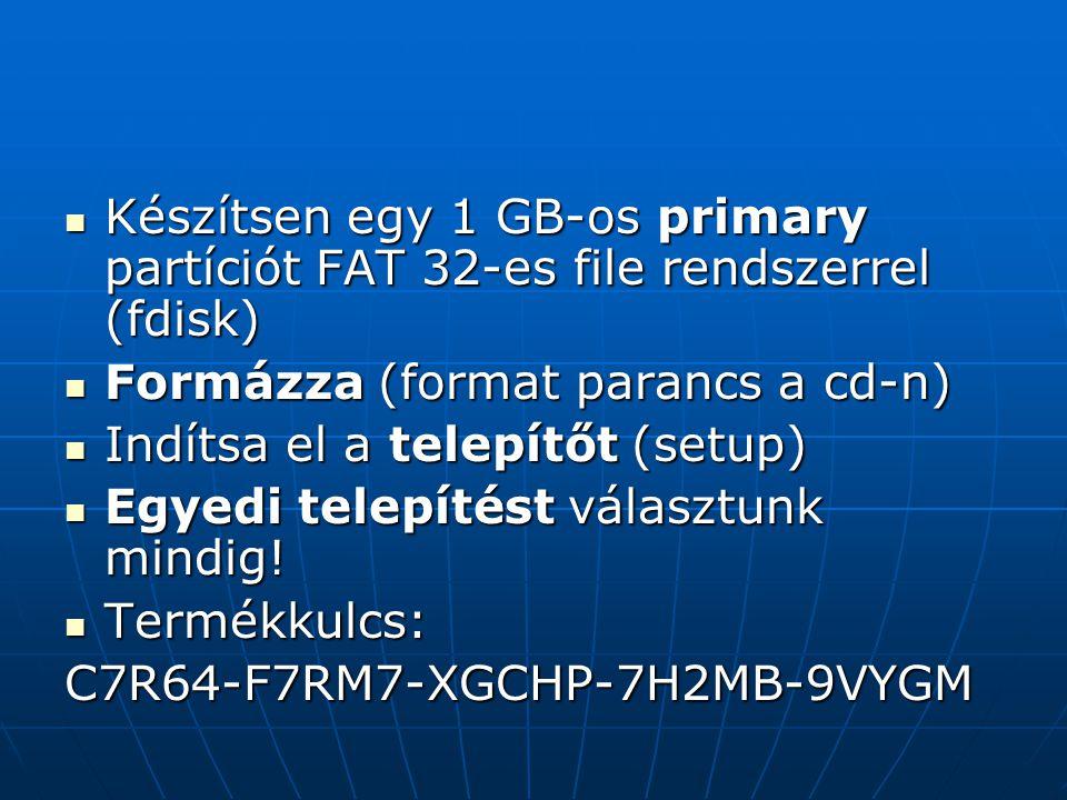 Készítsen egy 1 GB-os primary partíciót FAT 32-es file rendszerrel (fdisk)