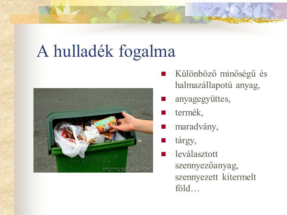 A hulladék fogalma Különböző minőségű és halmazállapotú anyag,