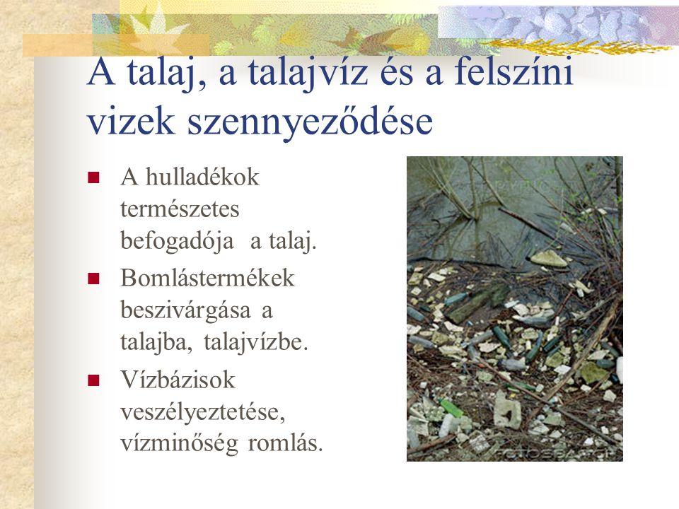 A talaj, a talajvíz és a felszíni vizek szennyeződése