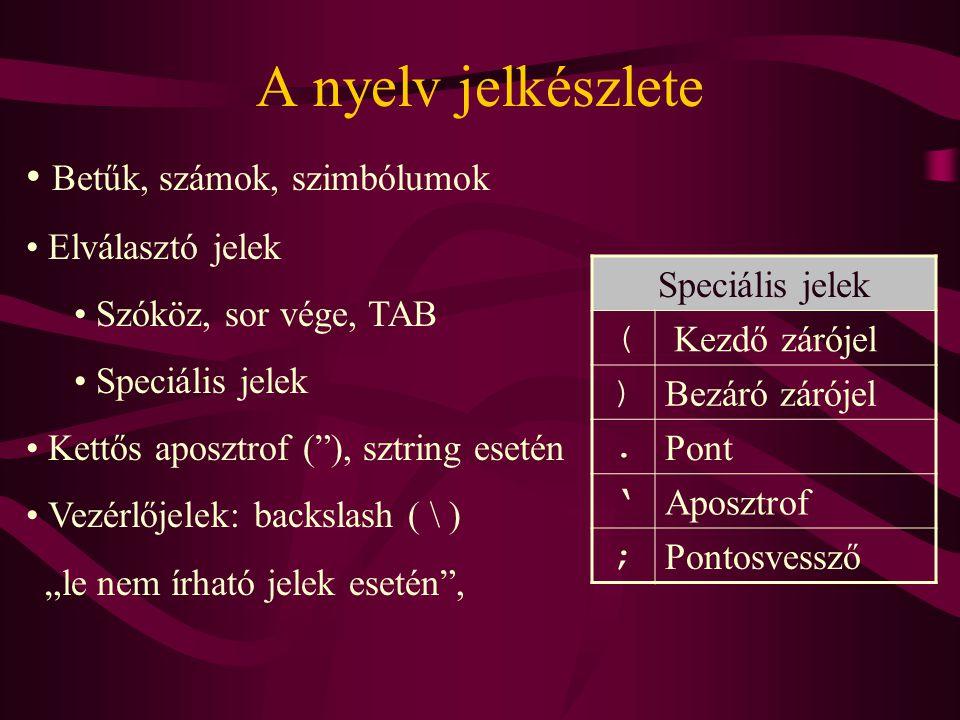 A nyelv jelkészlete Betűk, számok, szimbólumok Elválasztó jelek