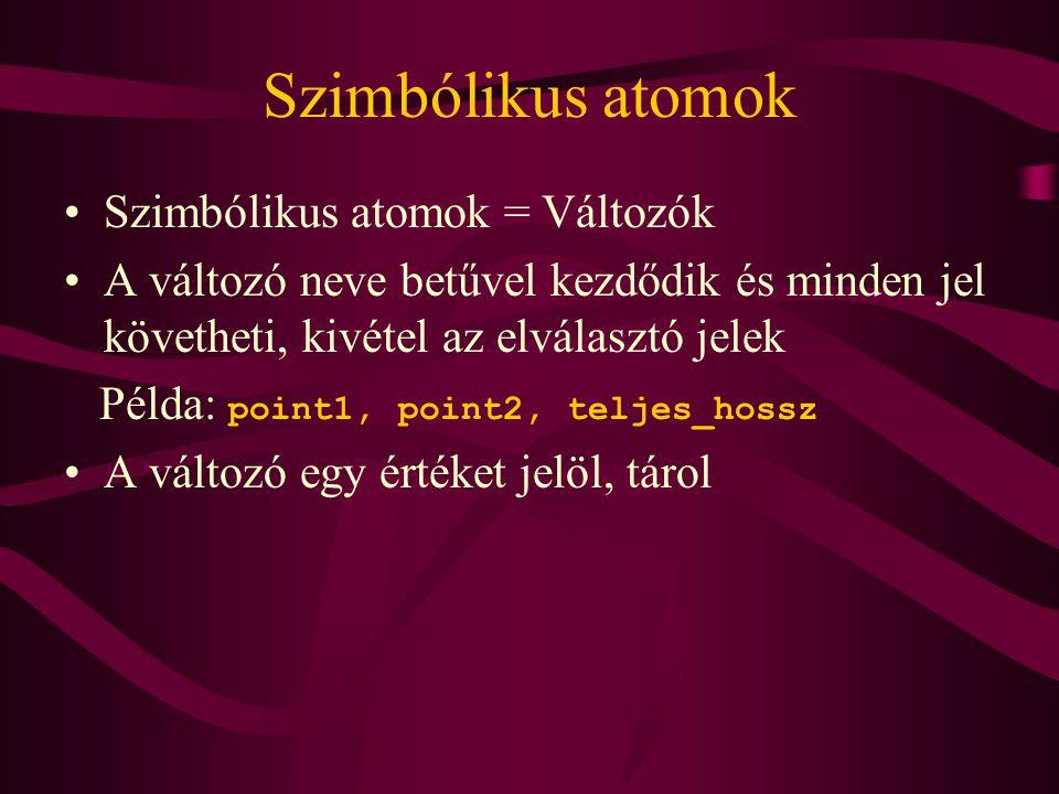 Szimbólikus atomok Szimbólikus atomok = Változók