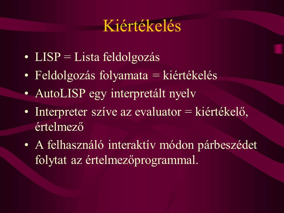 Kiértékelés LISP = Lista feldolgozás