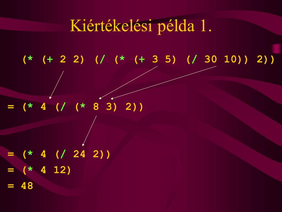 Kiértékelési példa 1. (* (+ 2 2) (/ (* (+ 3 5) (/ 30 10)) 2))