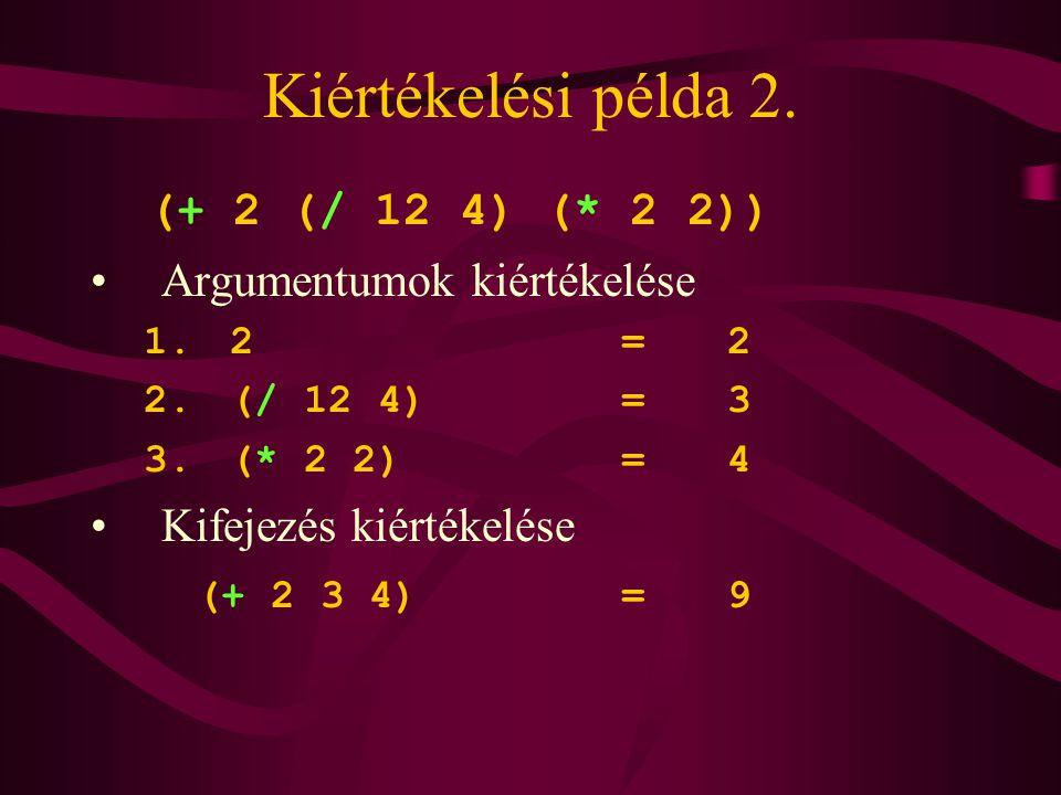 Kiértékelési példa 2. (+ 2 (/ 12 4) (* 2 2)) Argumentumok kiértékelése
