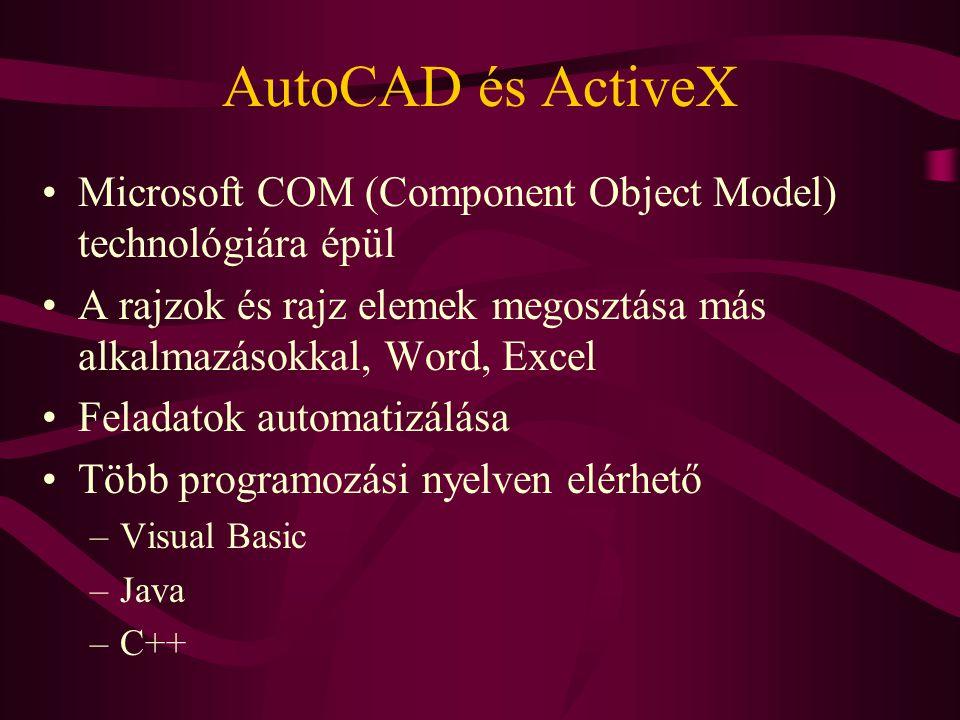 AutoCAD és ActiveX Microsoft COM (Component Object Model) technológiára épül. A rajzok és rajz elemek megosztása más alkalmazásokkal, Word, Excel.