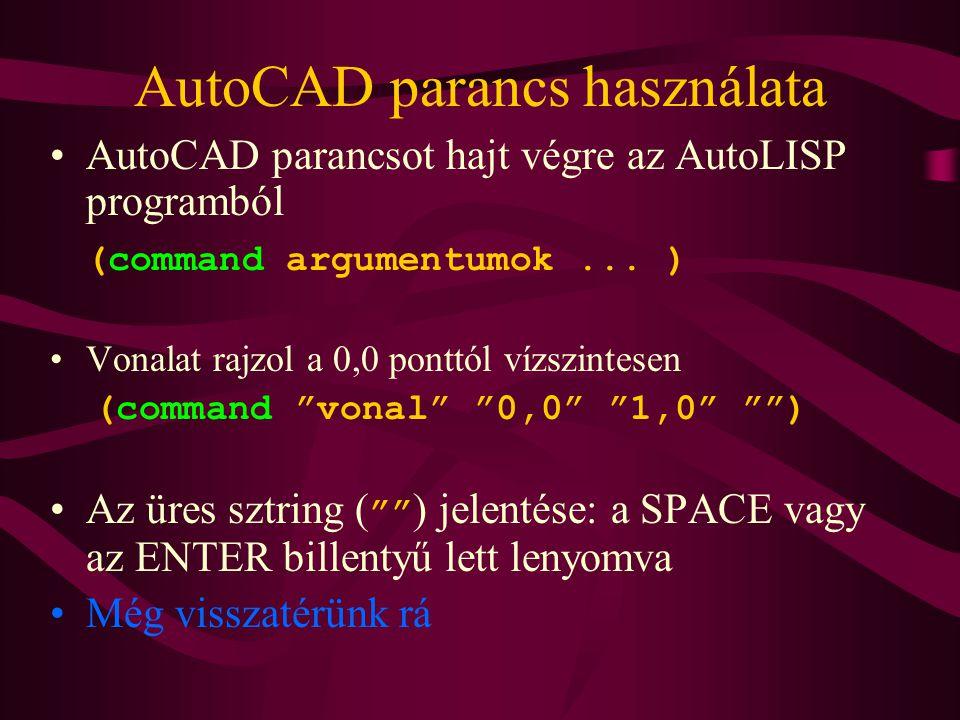AutoCAD parancs használata