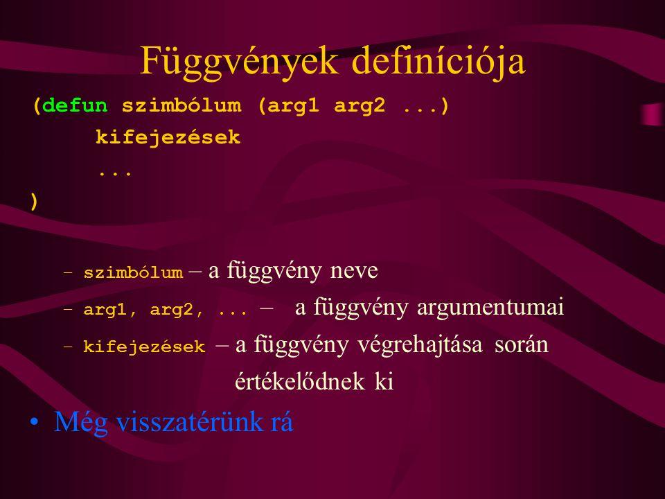 Függvények definíciója
