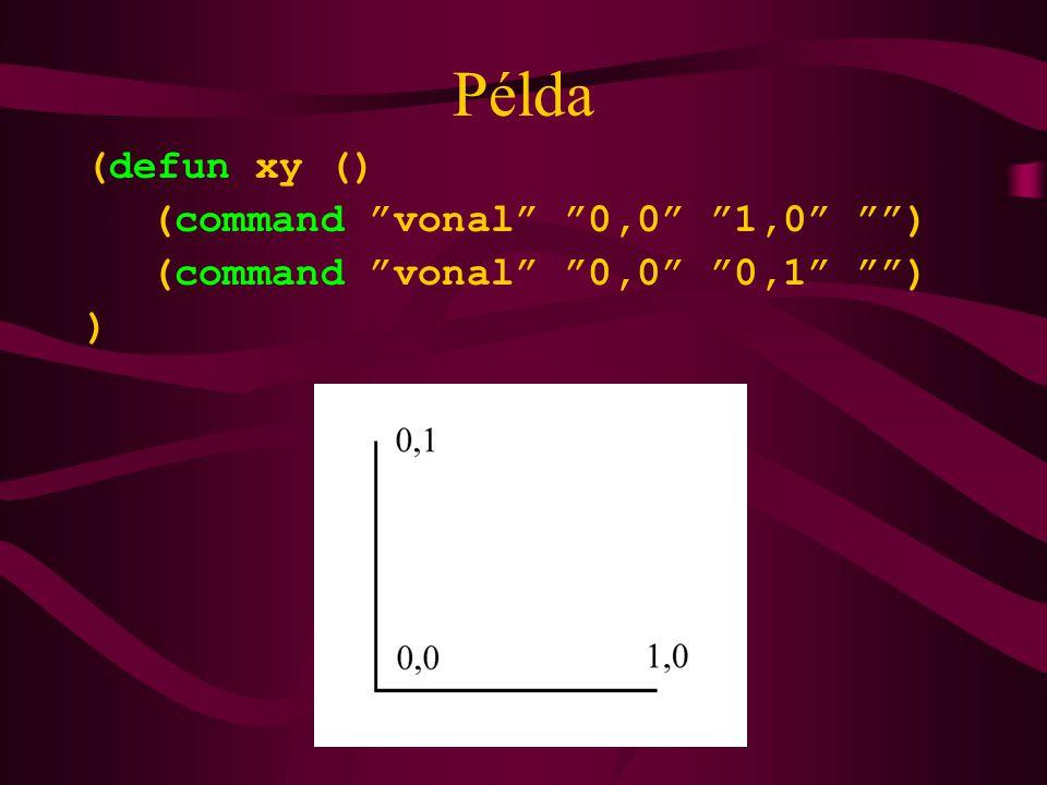 Példa (defun xy () (command vonal 0,0 1,0 )