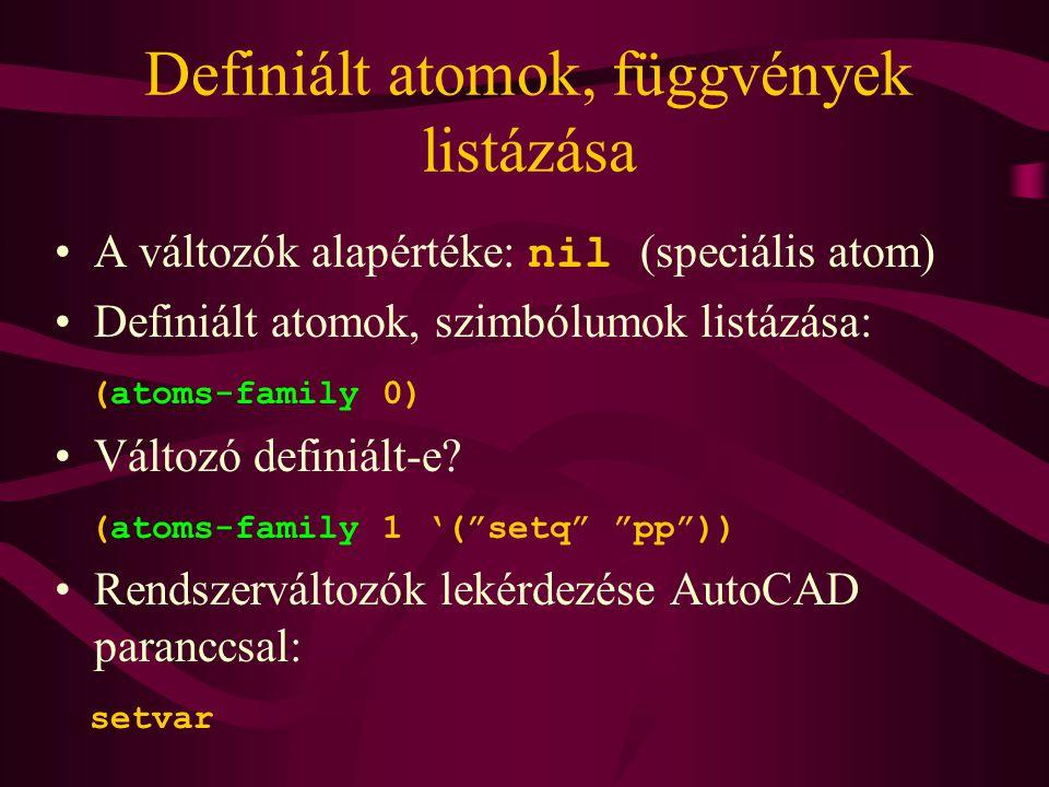 Definiált atomok, függvények listázása
